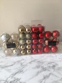 Christmas red and gold decoration baubles
