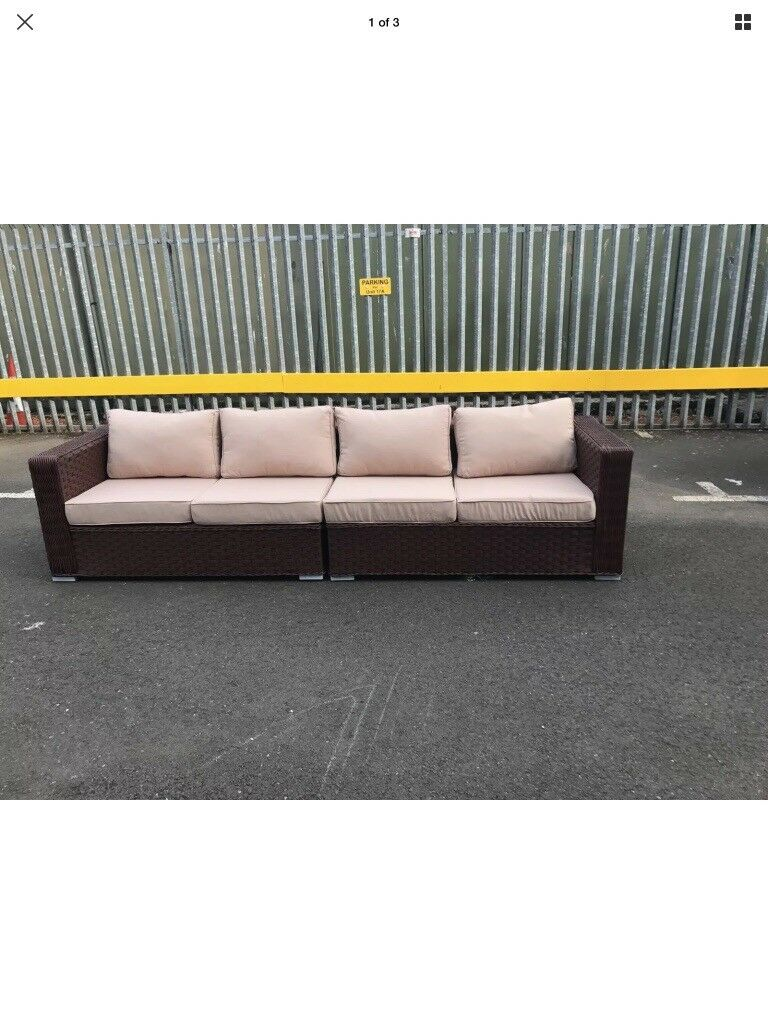 4 or 2 x 2 Seater Brown Rattan Garden Sofas with Cushions
