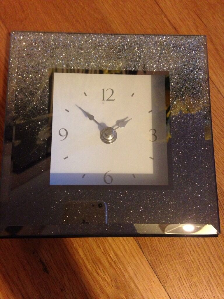 Next silver glitter mantle clock **brand NEW**