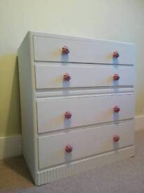 Vintage chest of drawers painted white
