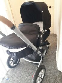 Mothercare 3 in 1 Pram Pushchair Black Very Good Condition
