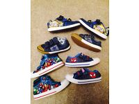 4 pairs boys trainers sz 11 and a 12 avengers Spider-Man ect
