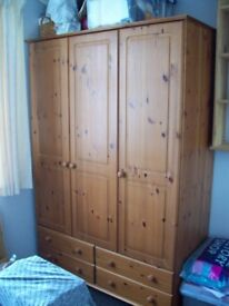 PINE 3 DOOR 4 DRAWER WARDROBE