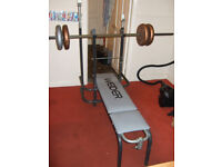 Weider Weights Bench With Barbell, Dumbells & Weights