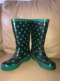 Kids Polka Dot Wellies Welly Boots Size 11