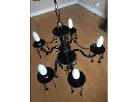 Black Glass Chandelier and Matching Table Lamp