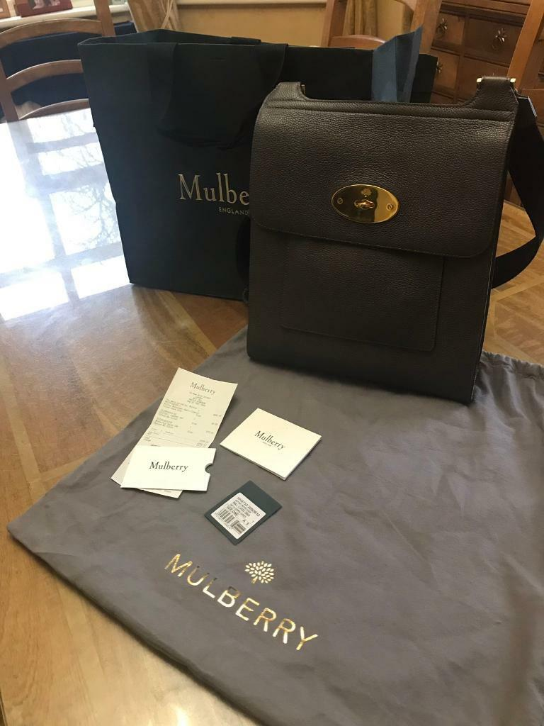Genuine Mulberry New Antony dark grey, dust bag, receipt and tags ... a5101245a2