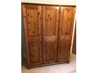 Ducal Victoria Pine Triple Wardrobe with Shelves, Mirror & Tie Rail