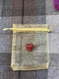 HANDMADE ITALIAN MURANO GLASS HEART PENDANT - RED