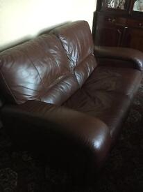 DFS Chocolate brown leather 3 + 2 seater