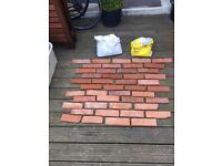 Brick slips, tiles, and mortar grout