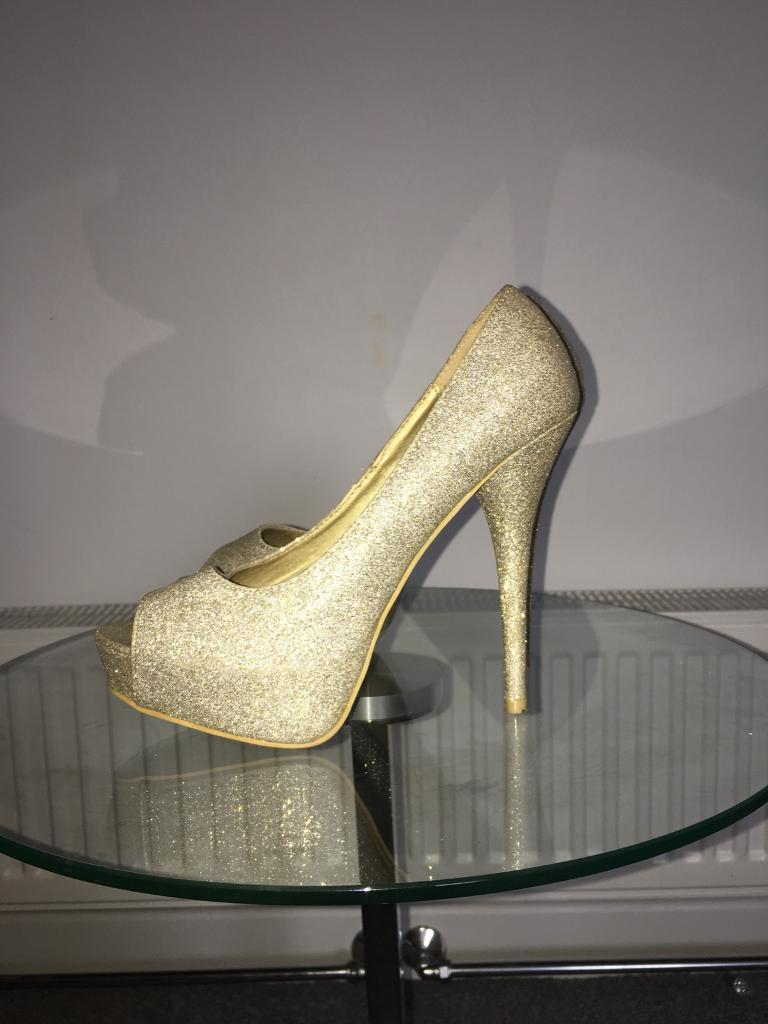 Sparkle gold high heels size 7