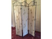 "Decorative metal 3-part folding screen with curtain panels 50""w x 66""h"