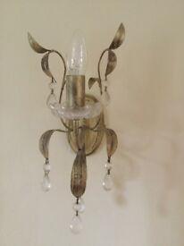 3 x metal antique brass effect wall lights.