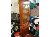 Cabinet - Quality 2 Glass Shelf, Glass Door, Wooden Door and Wooden Shelf Corner Display Cabinet