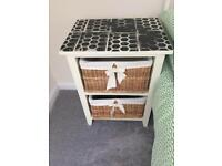 Chabby chic/ retro/ vintage bed side tables with baskets