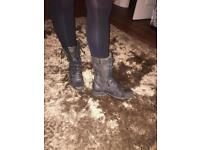 All Saints - Women's Military Leather BlackLace-up Boots - UK Size 5