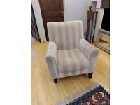 White/Striped arm chair - Great for posture - Very comfy and snug!