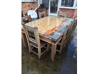 Solid pine dinning table with 6 chairs