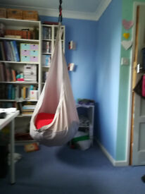 Ikea Ekorre hanging/swing chair with red Sagosten cushion