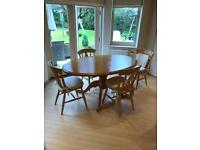 Pine Large table and 6 chairs