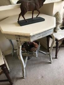 Antique octaganol victorian painted table ! Very pretty .