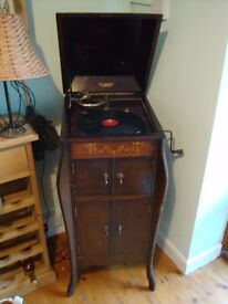Gramophone in beautiful inlaid cabinet with classical records