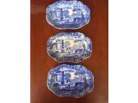 Set of 3 small Copeland Italian Blue Spode dishes plates