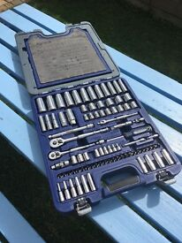 Snap on blue point socket and spanner set