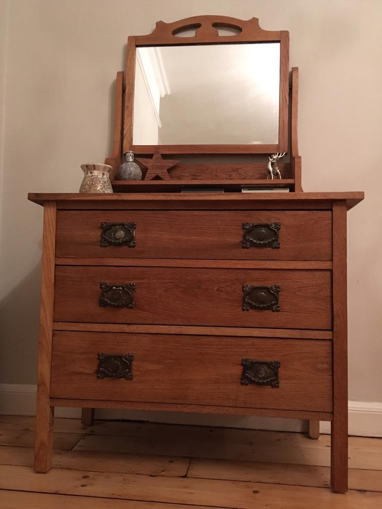 Antique Arts Amp Crafts Chest Of Drawers Solid Oak Wood
