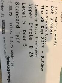 Rob Brydon tickets for tonight - 28/09 At Symphony Hall