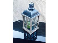 Bargain! Black glass table with lantern.