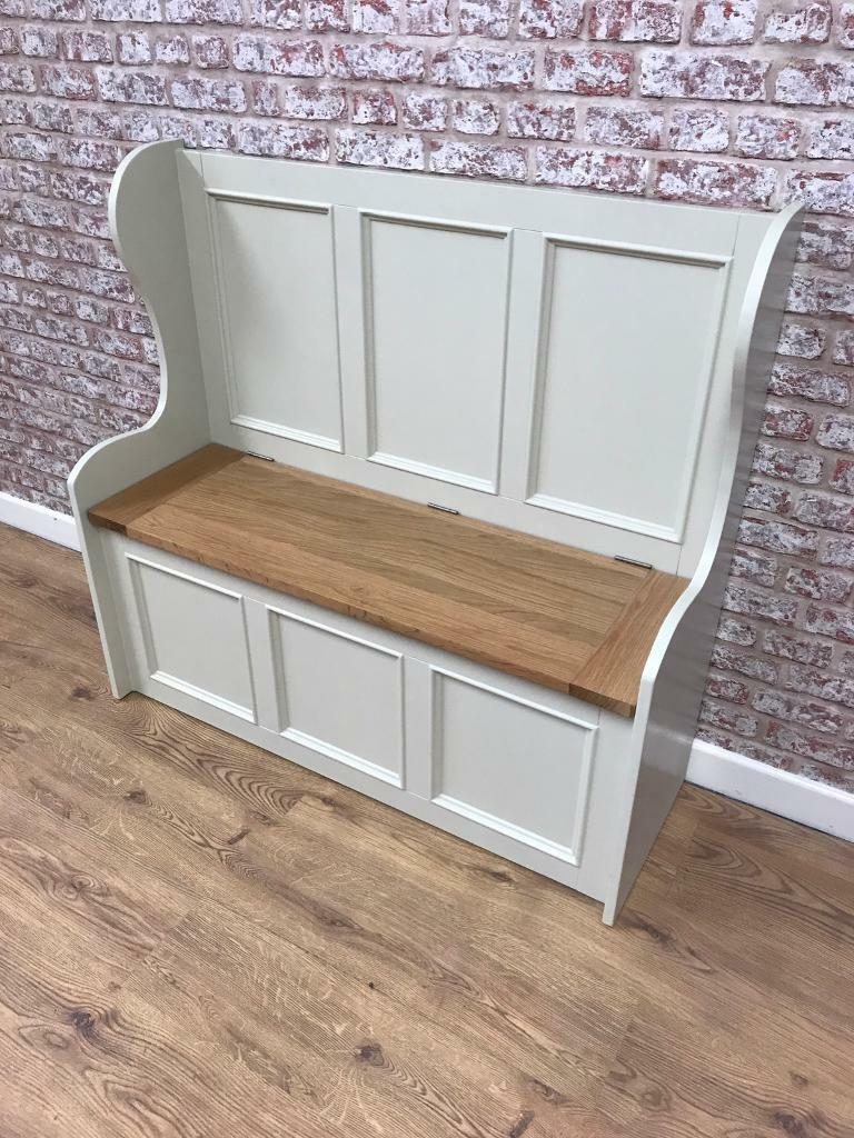 110cm wide monks bench with storage box