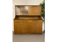 Mid Century Teak Highboard Sideboard with Glass Doors, Cupboards & Drawers Vintage/MCM/Retro