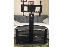Black glass tv table/tv stand with mount