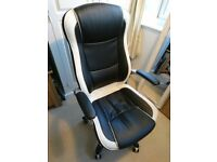 """Gaming / Office Chair, black & white """"Dexter"""" RRP - £110"""