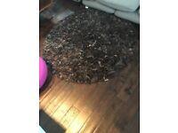 Dallas leather shaggy rug 150cm round