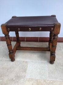 VINTAGE LEATHER TOPPED STOOL solid beech
