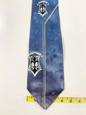 New 1930s Mens Fashion Ties VINTAGE BRENT 1930S 40S REGAL TEAL FLORAL FLEUR DE LIS SWING NECKTIE TIE HOC0420 $9.99 AT vintagedancer.com