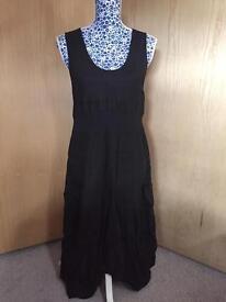Brand New Ladies Black Linen Dress - Size 14/16
