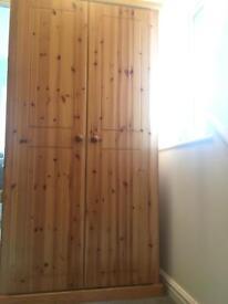 Solid wood pine wardrobe