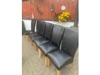 6 Black leather chairs for sale