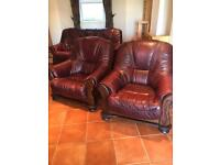 Chesterfield style leather sofa and 2 armchairs