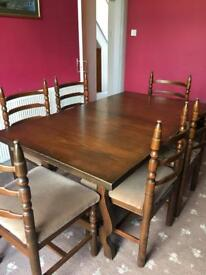 Dining table, six chairs, dresser and coffee table