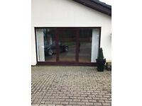 Mahogany upvc 3 piece patio centre sliding door 3600w x 2100h £575 also front door with 2 side panel