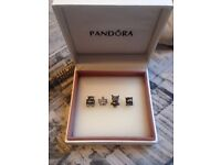 Pandora style bracelet with 4 charms
