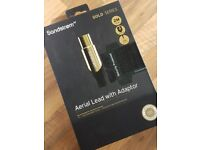 TV Aerial Cable with Gold terminals - 2 meters - Brand new in box
