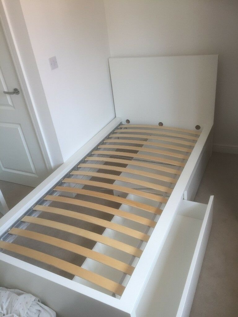 Ikea used MALM Bed frame, high, w 2 storage boxes | in Horsham, West ...