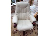 leather recline and swivel chair in cream, very good condition