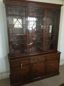 Reproduction Regency style display cabinet/sideboard